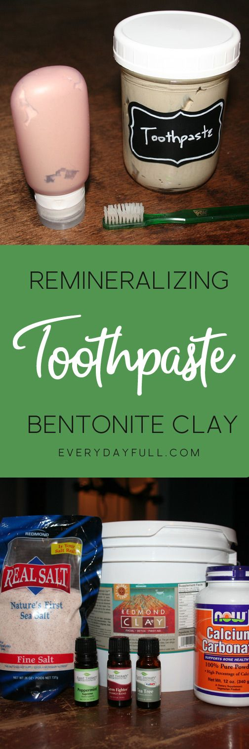 "HOMEMADE REMINERALIZING AND HEALING TOOTHPASTE - Get that ""just from the dentist"" feel each time you brush your teeth. With the addition of calcium carbonate, sea salt, bentonite clay and essential oils you can remineralize your teeth and even heal cavities."