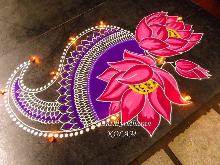 #pink#lotus#purple#paisley#kolam