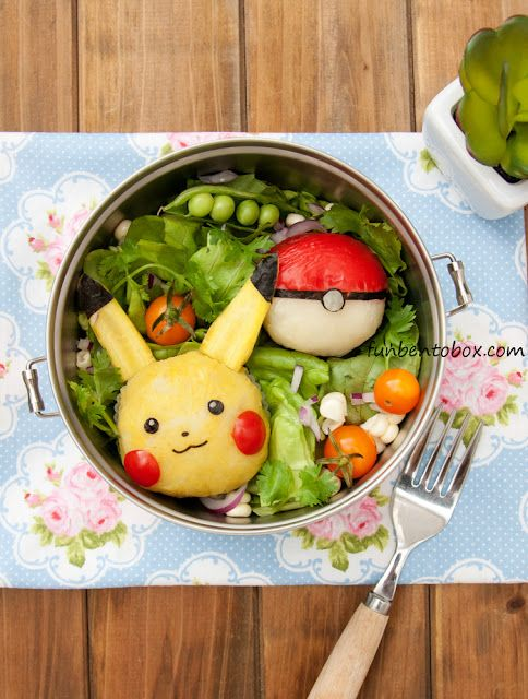 Pokemon Go Pikachu Lunch Bento: Kids will love this healthy and cute lunch. Made with vegetables. funbentobox.com