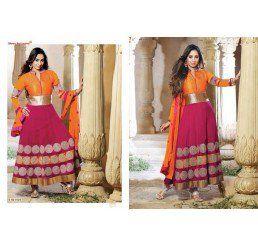 Buy Dinnar Georgette Orange and Red Semi Stitched Salwar Suit at Socrase.com
