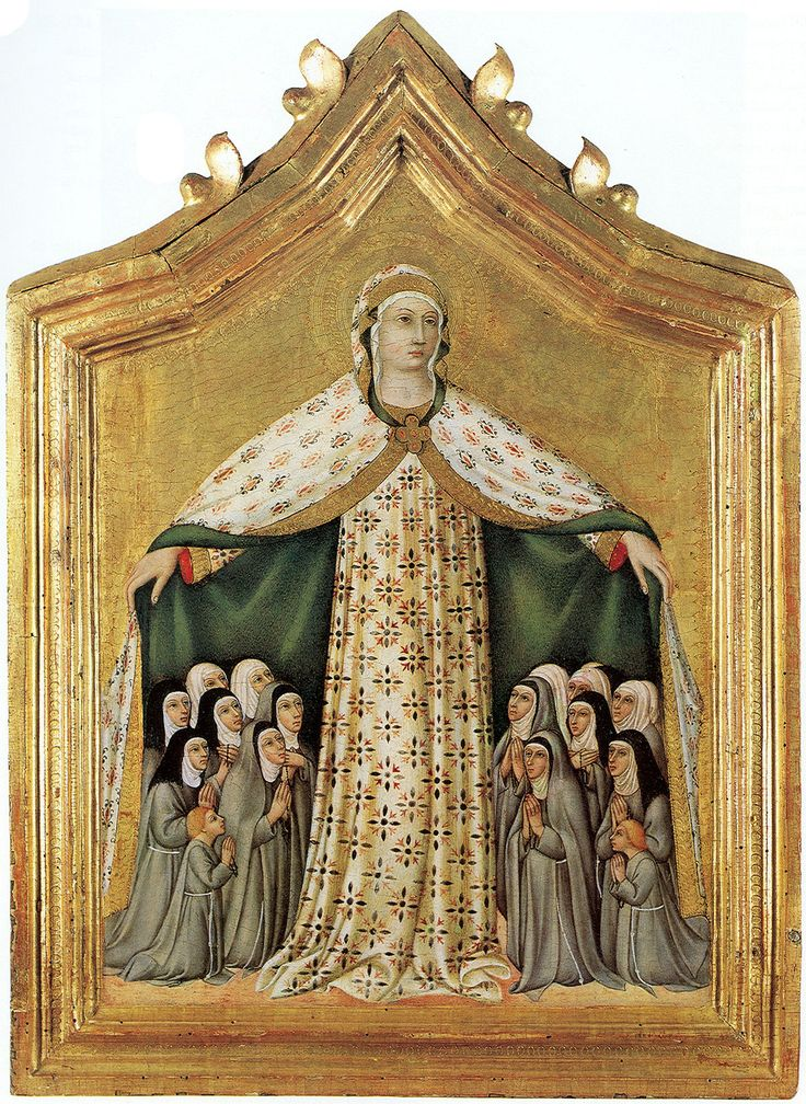 9/24: Feast of Our Lady of Ransom / Nuestra Señora de la Merced (1218) - She appeared to Saint Peter Nolasco, his confessor, Raymund of Pennafort and King James of Aragon on August 1st to inspire them to found the Order of the Blessed Virgin Mary for the Ransom of Captives, known as the Mercedarians. [Traditionally Approved.] Madonna of Mercy - Sano di Pietro, 1440s