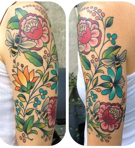 Hungarian folk art inspired tattoo done by Becca Genne Bacon at The End is Near in Brooklyn, NY