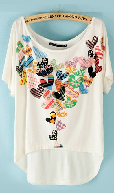 Cute Cheap Heart print high-low T-shirt B13220019 - T-Shirt Online Shopping Free Shipping