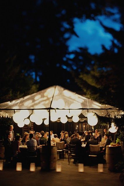 Cluster different size lanterns under your marquee and add a buttonlite in each…