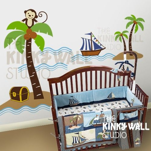 Pirate vinyl wall decals, take out the monkey