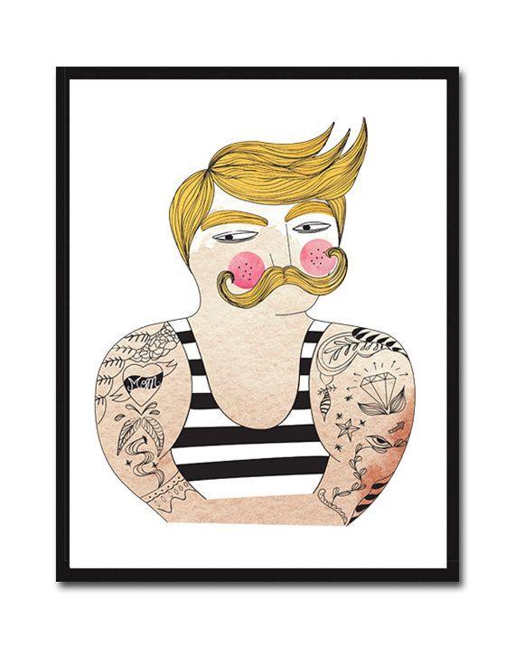 Digital Print Muscle Man Mustache Poster Wall Art Digital Illustration Print Art Wall Decor Digital Drawing Hipster Portrait Poster