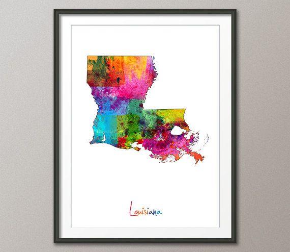 Louisiana Map USA Art Print 1166