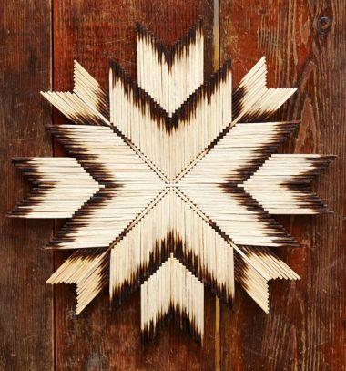 Wooden burnt matchstick star Christmas ornaments // Gyufa csillagok - karácsonyi dekoráció kiégett gyufaszálakból // Mindy - craft tutorial collection