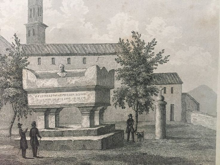 Annons på Tradera: Petrarca Arqua Antik Etsning Topografisk Plansch 1840 Das kleine Universum
