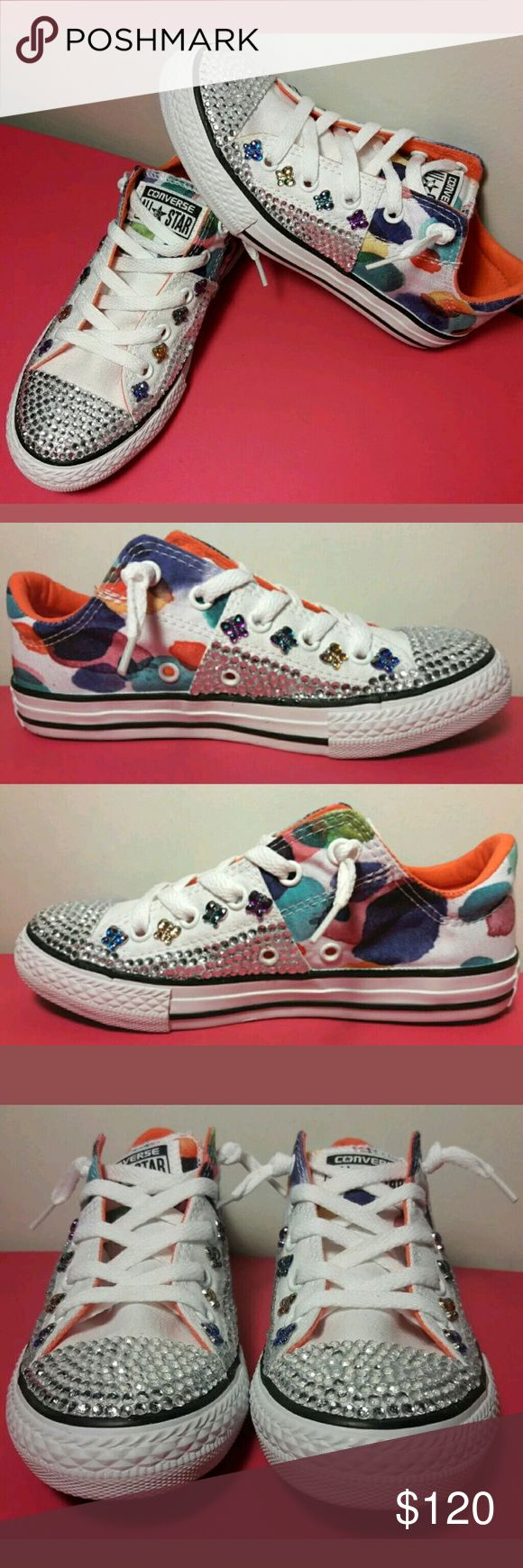 Girls Converse All Star Blinged Out Sneakers Sz 1 Converse All Star Girls Shoes Size 1 Crystal Rhinestone Bling with Butterfly Embellishment NIB   Brand New In Box   Please view all images Converse Shoes Sneakers