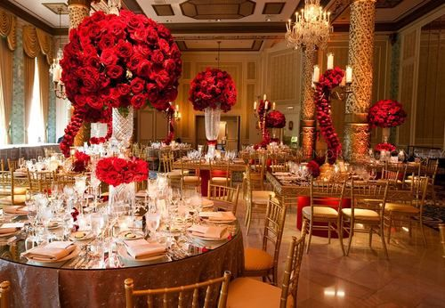 Rose Gold Wedding Ideas For Ceremony Reception Décor: Beautiful Combination Of Red & Gold With Ivory Accents