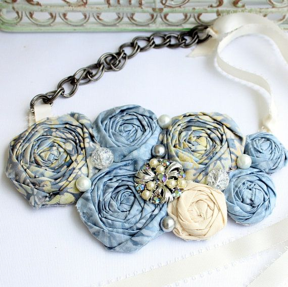 Fabric Rosette  Bib Necklace ANDREAS WEDDING Statement by sadiesez, $33.00