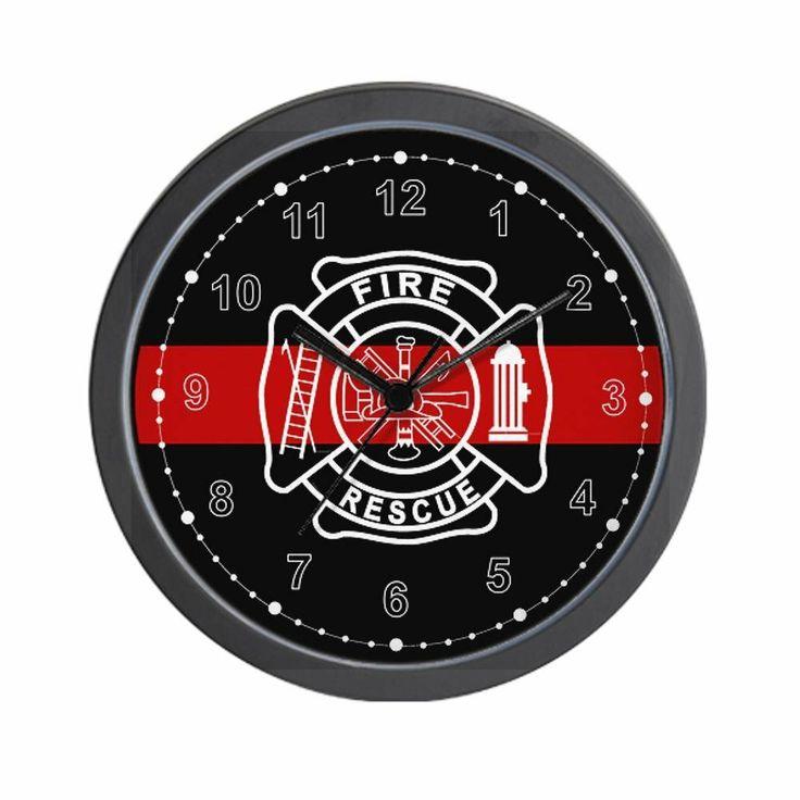 Firefighter Thin Red Line Wall Clock. Get yours at: http://rcm-na.amazon-adsystem.com/e/cm?lt1=_blank&bc1=000000&IS2=1&bg1=FFFFFF&fc1=000000&lc1=0000FF&t=howecahaital-20&o=1&p=8&l=as4&m=amazon&f=ifr&ref=ss_til&asins=B00D4JSY6Q