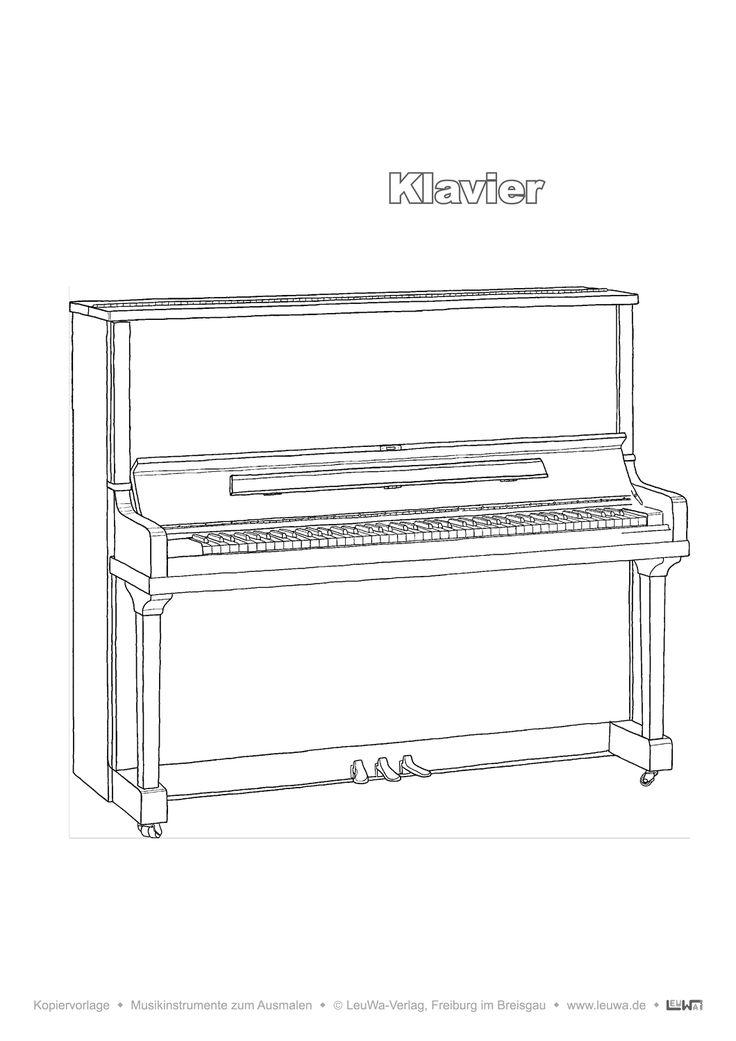 musikinstrument zum ausmalen  klavier
