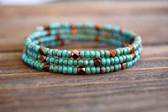 Beaded Memory Wire Bracelet - Triple Wrap Bracelet - Turquoise Beaded Bangle - Slim Beaded Bracelet - Seed Bead and Bronze Hematite