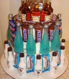 liquor and candy cake   Liquor   Cake with Hennessy on the   top layer, Hynotiq on the 2nd   layer, and Malibu on the   bottom layer. This cake cost   $150.