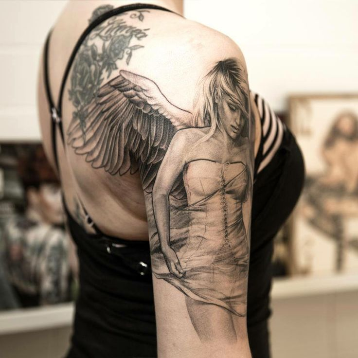 location for start of sleeve tattoo (angel with Wings