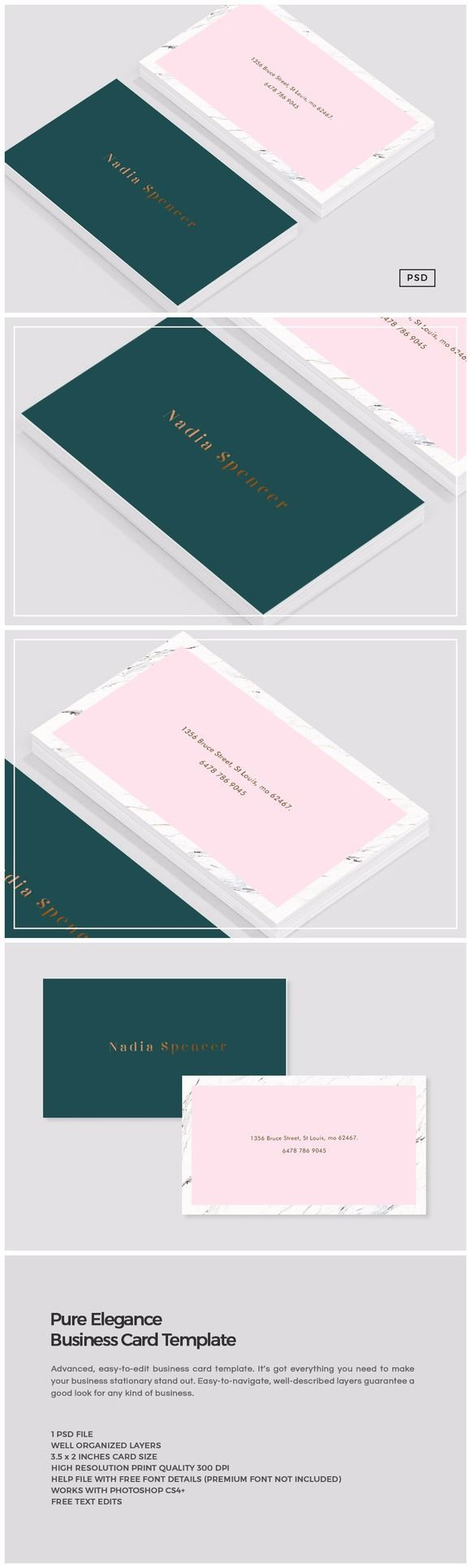 Pure Elegance Business Card Template by The Design Label on @creativemarket