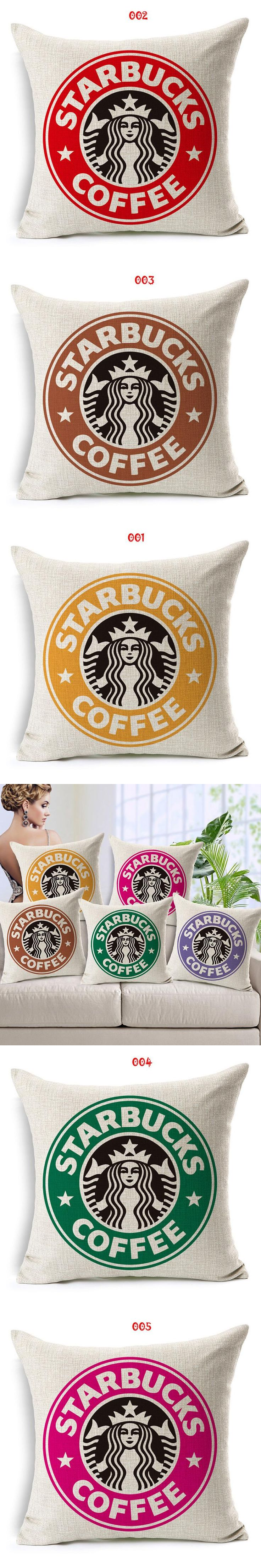Wholesale and retail 18in*18in Cushion cover Coffee symbol design  linen/cotton decorative pillow cover seat pillow case