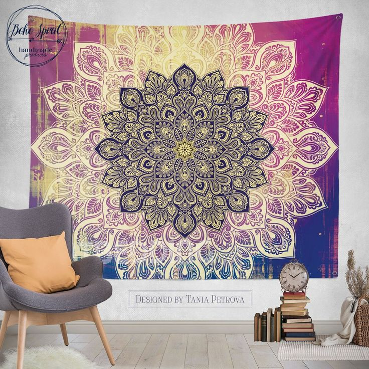 Deco Rustic Deco Mandala Tapestry Wall Hanging S Size, Bohemian Decor,  Bohochic Vintage Lotus