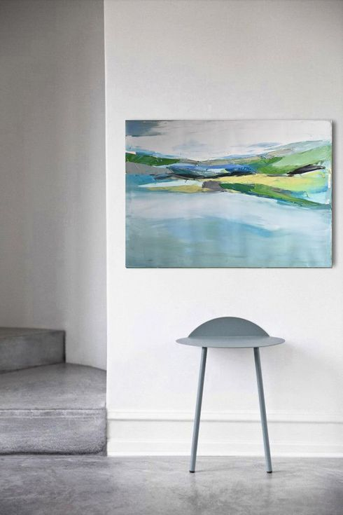 "Buy Oil painting, canvas art, stretched, ""Lake 25"" , 39.37/27.5 inches, (100/70cm)., Oil painting by Karina Antończak on Artfinder. Discover thousands of other original paintings, prints, sculptures and photography from independent artists."