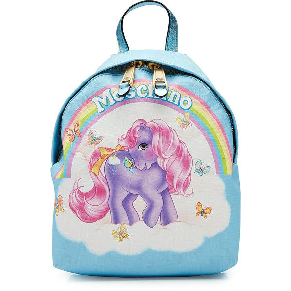 Moschino Little Pony Printed Backpack ($695) ❤ liked on Polyvore featuring bags, backpacks, blue, vegan backpack, pastel backpack, vegan bags, fake leather backpack and vegan leather backpack