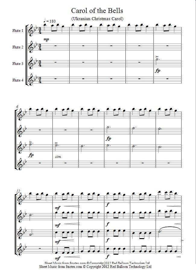 Carol of the Bells sheet music for Flute Quartet