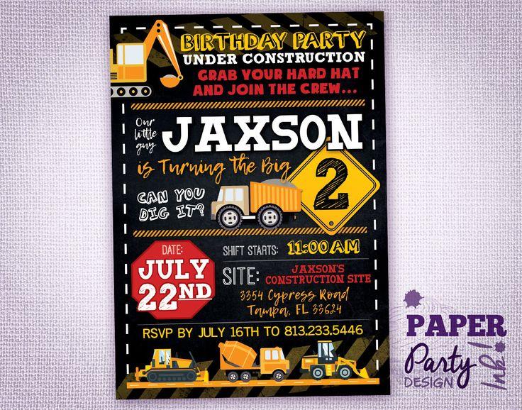 Construction Birthday Party Invitation, Under Construction Party Invitation, Construction Digital Printable Invitation, Construction Party by PaperPartyDesignInk on Etsy