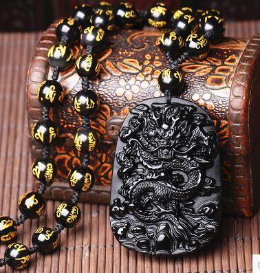 ella 55x42mm cinese lavoro manuale black obsidian intagliato drago amuleto fortunato gioielli di moda collana pendente