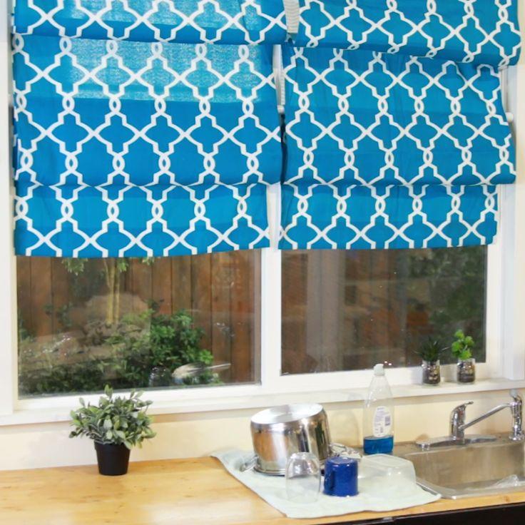 DIY Faux Roman Shades #DIY #kitchen #window #shades #cheap