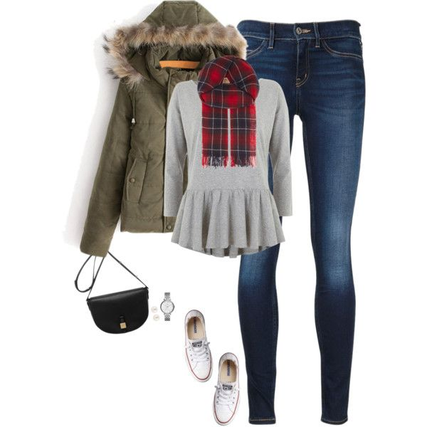 Faux fur hooded coat, gray peplum & plaid scarf by steffiestaffie on Polyvore featuring Mint Velvet, MiH Jeans, Converse, Mulberry, FOSSIL, Henri Bendel, The Kooples, women's clothing, women's fashion and women