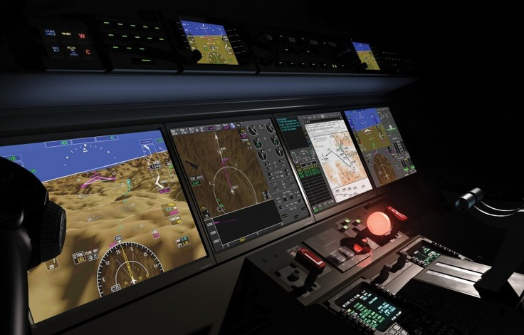 G 650 cockpit; It uses infrared cameras and an Enhanced Vision System to make flying in bad weather conditions safer.