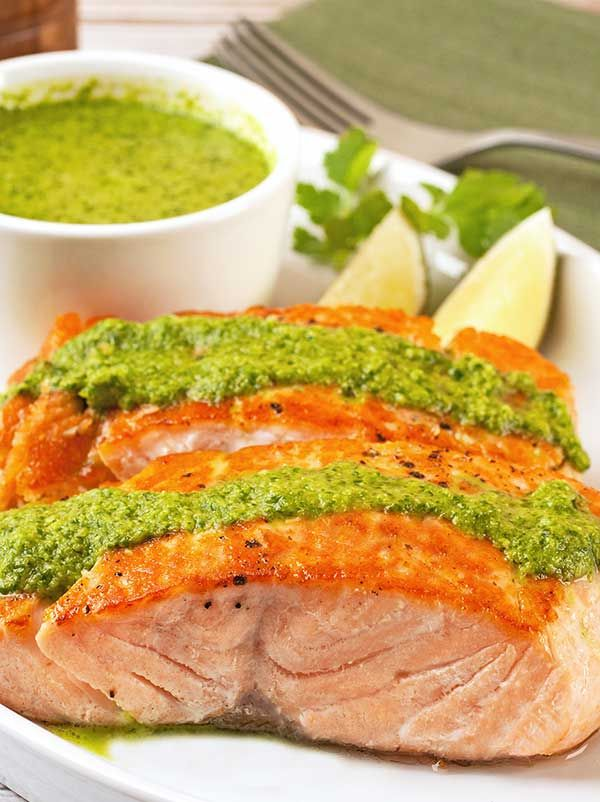 Seared Salmon Fillets with Cilantro Pesto Recipe | MyGourmetConnection®