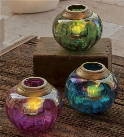 Pearlized Glass Tealight Holders <3