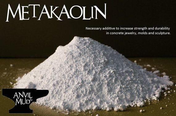 Metakaolin is a must for concrete jewelers and sculptors. When added to your concrete mixture (typically 10 to 15 % by weight of cement), it produces