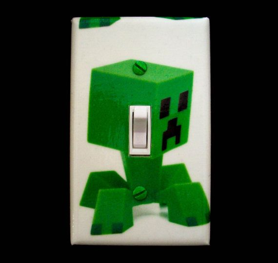 minecraft inspired creeper light switch cover boys bedroom decor switch plate