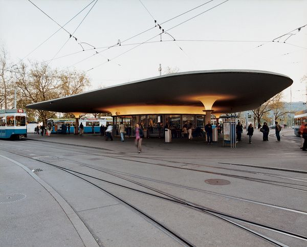 Organic design characterizes the tram station at Bellevue, a popular square and site of the opera house. Zurich's trams are hailed as a model for an economic, environment-friendly urban transport system.  Photo by: Gunnar Knechtel