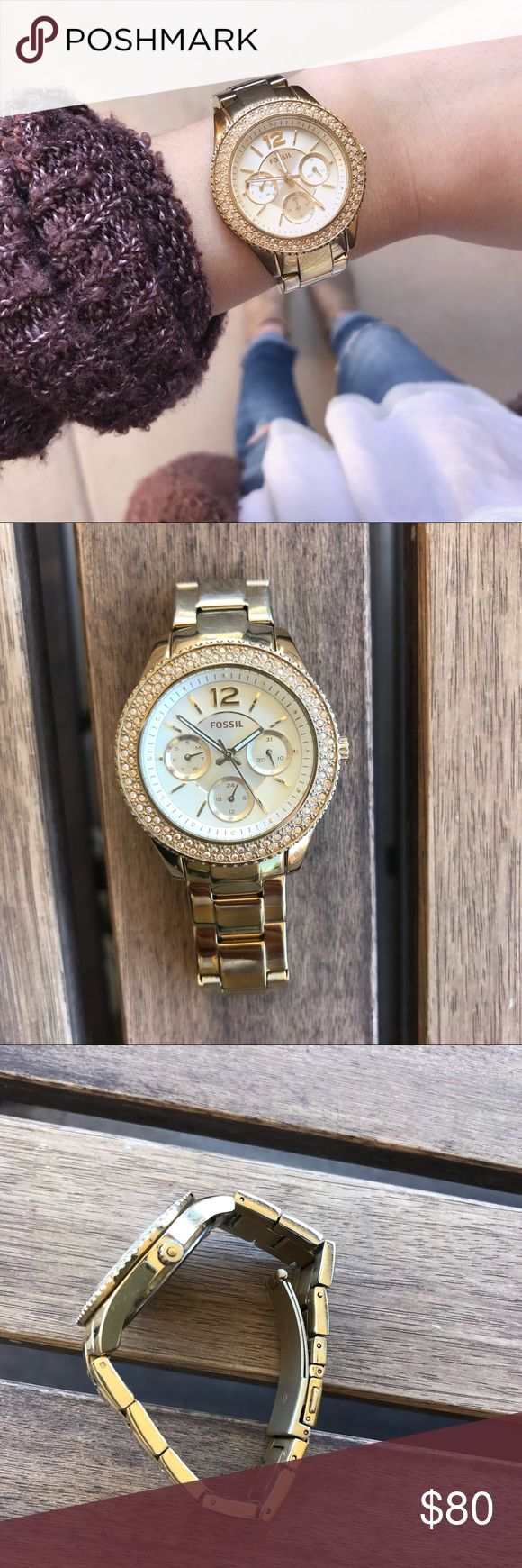 Gold Fossil Watch I'm negotiable on the price!  Beautiful yellow gold watch  Has some normal wear on it but doesn't affect the beauty of the face! Rhinestones are perfectly intact ❤️ Fossil Accessories Watches