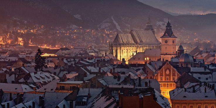Incredible view over Brasov, at night. The jewel of Transylvania, Romania. Credits Claudiu Paduroiu