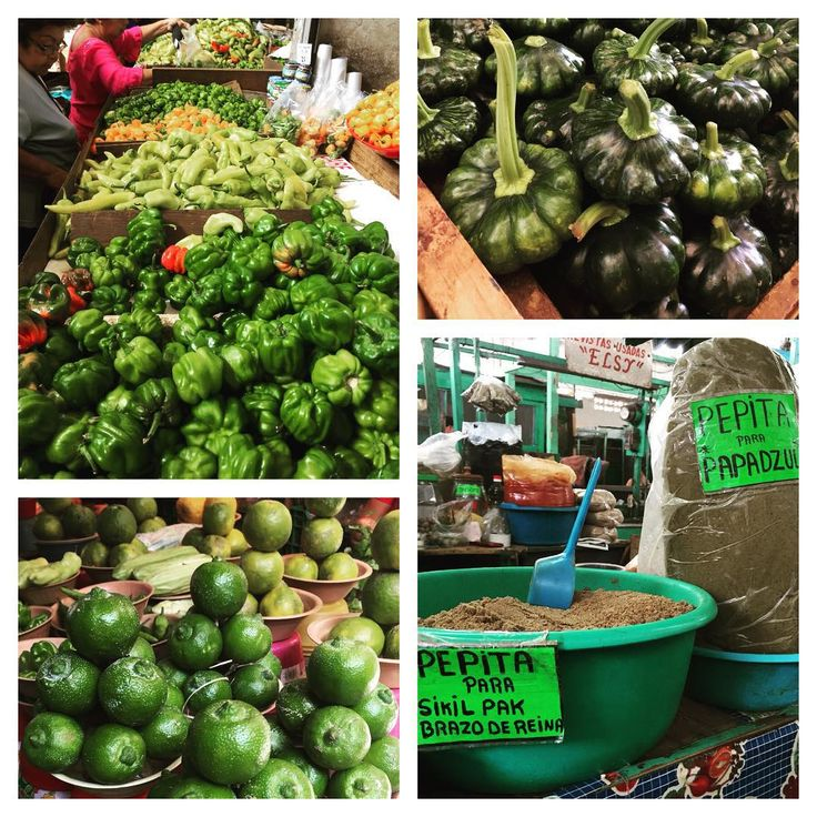 Staff trip 2015: a walk through the Mérida market: chiles (dulce, xcatic, orange & green habaneros), Kabocha-like squash, sour lima, pumpkinseeds in every form (plus the seasoning pastes--recado a--of achiote and burnt chile).