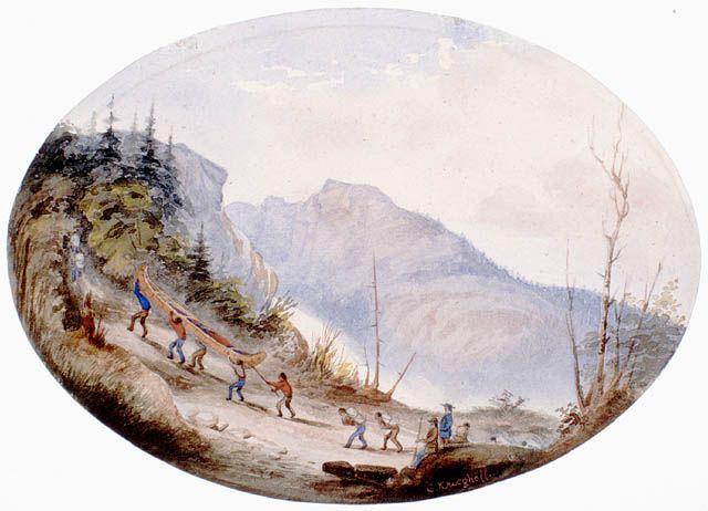 """""""Portage"""", aquarelle attribuée à Cornelius Krieghoff, ca 1856. Bibliothèque et Archives Canada, no d'acc 1989-479-24."""