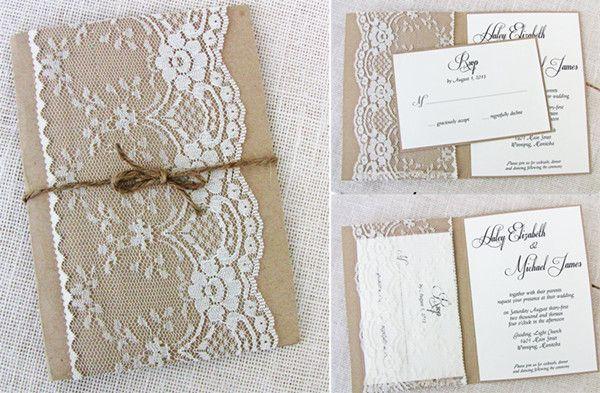 vintag spitze jute Einlandungskarten Hochzeit 2014 Jute Hochzeitsdeko und Einladungskarten Inspiration