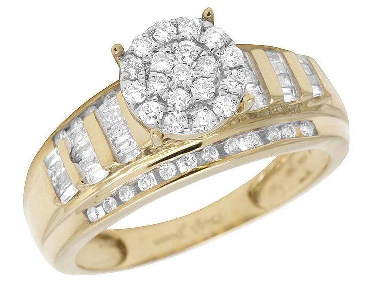 Ladies 10K Yellow Gold Real Baguette Diamond Cinderella Engagement Ring  0.50ct