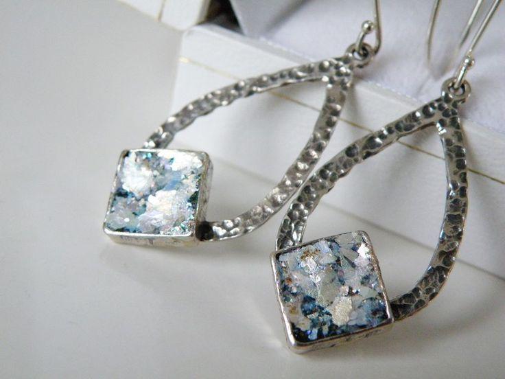 New Or Paz Sterling Silver 925 Roman Glass Long Dangle Drop Israel Earrings #OrPaz #DropDangle#RomanGlass #OrPaz #QVC #Jewelry #Earrings #ModernJewelry #Sterling #SterlingSilver #HammeredSterling #HammeredSilver #OrPazJewelry #UniqueJewelry #Israel #IsraelJewelry