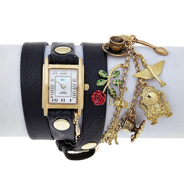 """La Mer Disney's Beauty and the Beast """"Beauty and the Rose"""" Goldtone Chain and Charm Black Leather Wrap Watch"""