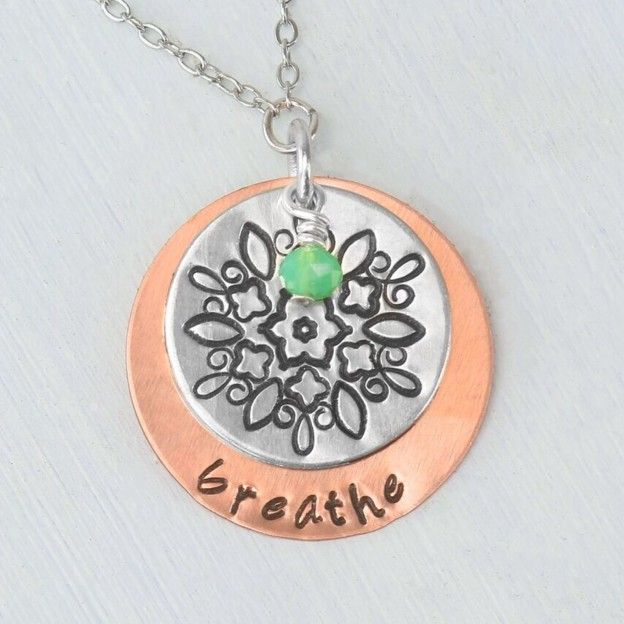 Impressart mandala metal stamping copper alkeme necklace for Metal stamping press for jewelry