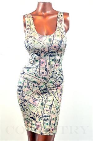 Millionaire Money Print Bodycon Tank Dress Millionaire