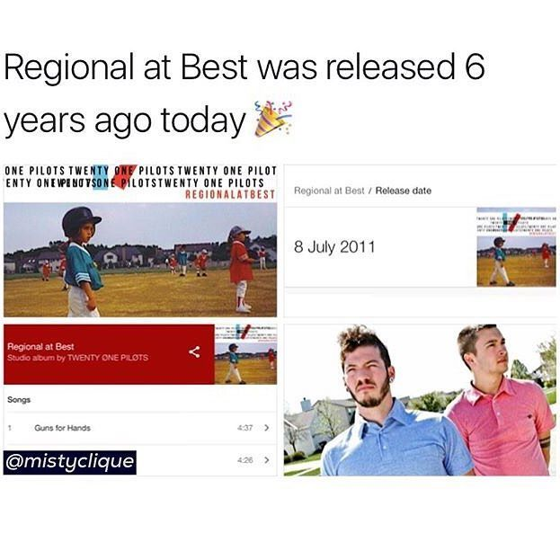 Happy birthday regional at best!!! I love this album so much as well as the others but I just want to say this... We did it. Look how far we've come!!! It's truly amazing and I have no words to say how grateful I am to be part of the clique. Stay alive frens.