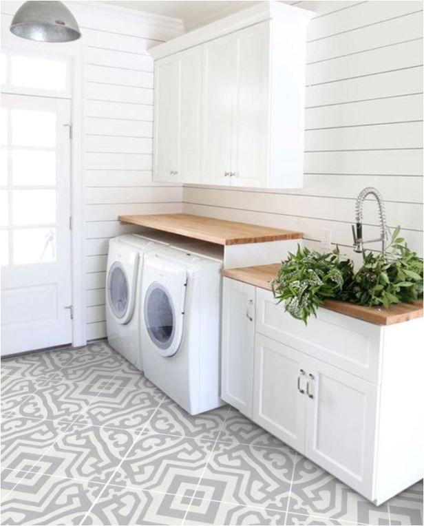 Patterned Peel Stick Flooring Laundry Room Storage