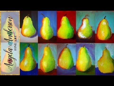 Angela Anderson Art Blog: Pear Acrylic Paintings - Kids Art Class